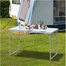 Mesa de camping plegable altura ajustable blanca Outsunny
