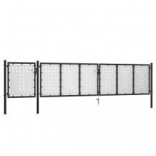 vidaXL Puerta de jardín de acero negro 500x100 cm