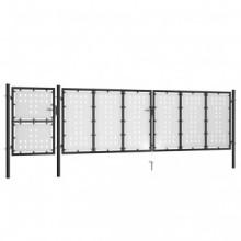 vidaXL Puerta de jardín de acero negro 500x125 cm