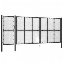 vidaXL Puerta de jardín de acero negro 500x175 cm