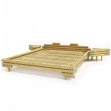 vidaXL Cama con 2 mesitas de noche bambú...