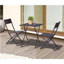 Conjunto de 2 sillas y mesa plegable Ratán marrón Outsunny