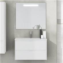 Mueble con lavabo y espejo de fondo reducido blanco brillo Ibiza TEGLER