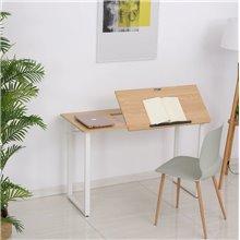 Escritorio reclinable en color blanco y madera...