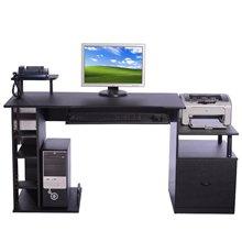 Escritorio para ordenador de color negro con mesa de impresora Homcom