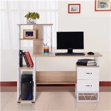 Escritorio para ordenador estantes de color blanco y madera clara Homcom