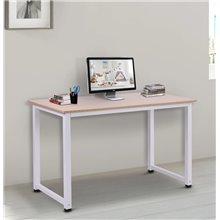 Escritorio en color blanco y madera clara 120 x...