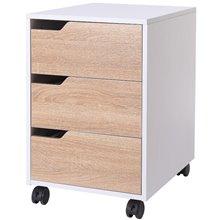 Cajonera móvil de tres cajones de color blanco y madera Homcom