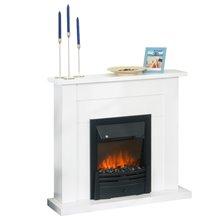 Chimenea eléctrica decorativa blanca y negra con termostato Homcom