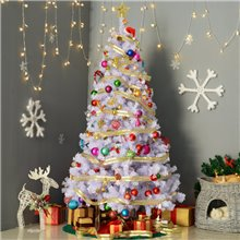 Árbol de Navidad blanco con adornos 180cm Homcom