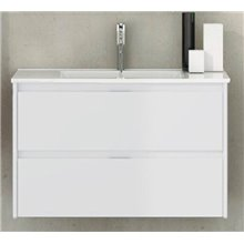 Mueble con lavabo de fondo reducido 80 Blanco brillo Ibiza TEGLER