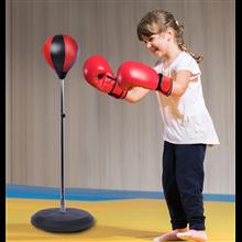 Saco de boxeo de pie con altura ajustable rojo...