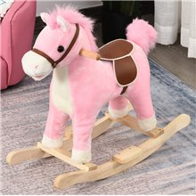 Caballo balancín de color rosa Homcom