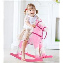 Caballo balancín de felpa suave de color rosa...