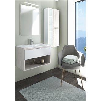 Mueble Life compacto 80 cm un cajón y un estante CON LAVABO cendre y blanco B10