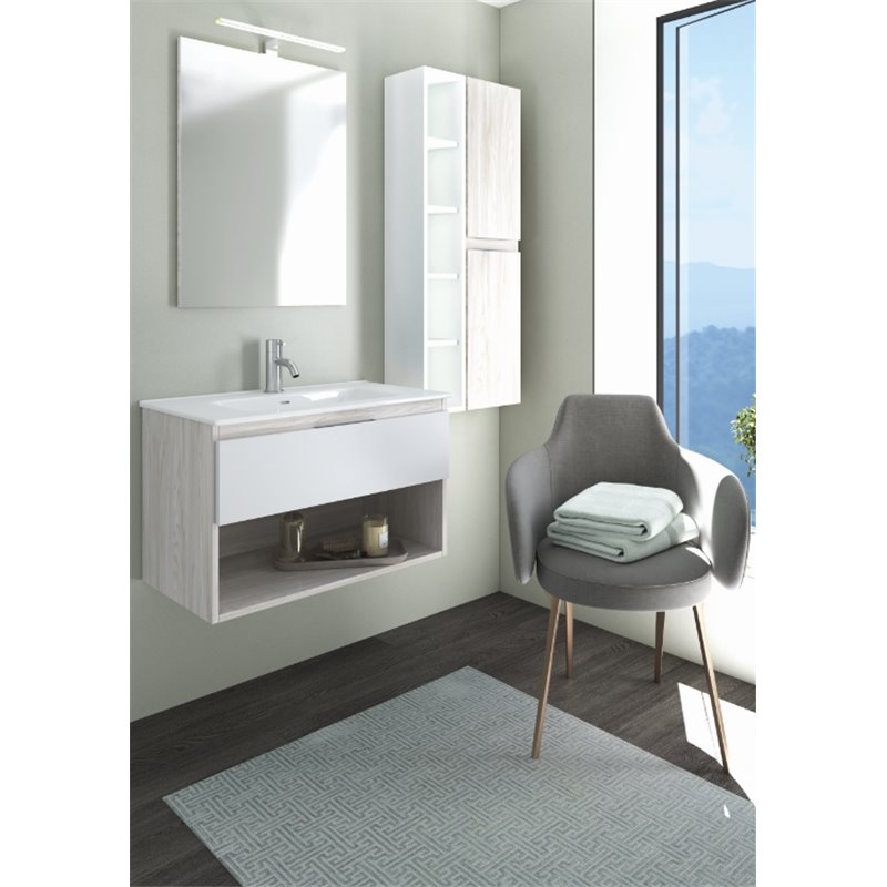 Mueble Life compacto 80cm un cajón y un estante CON LAVABO cendre y blanco B10