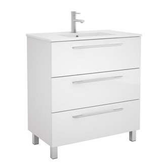 Mueble 81cm Blanco Brillo 3 cajones FUSSION CHROME SALGAR