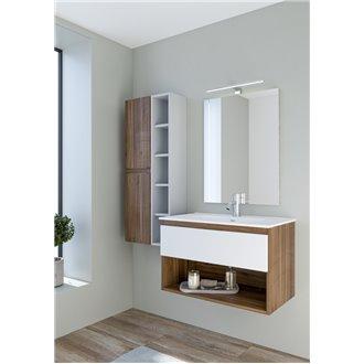 Mueble Life compacto 80 cm un cajón y un estante CON LAVABO nogal y blanco B10