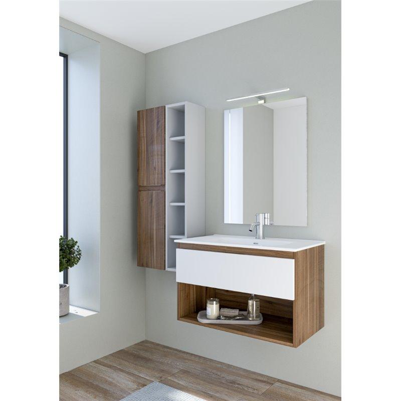 Mueble Life compacto 80cm un cajón y un estante CON LAVABO nogal y blanco B10