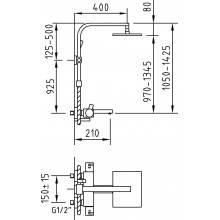 Columna termostático Bimini de baño con ducha extensible