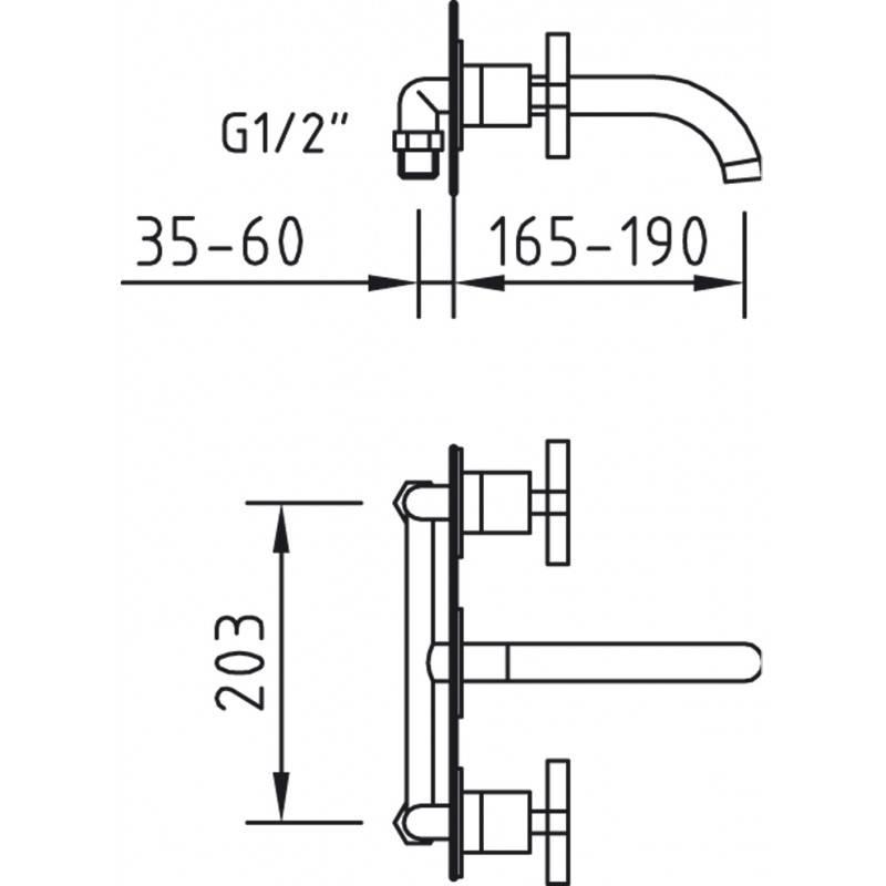 Grifo de pared morea para lavabo 97007 materiales de f brica - Grifos de pared ...