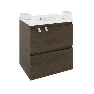 Mueble con lavabo porcelana 60cm Roble chocolate B-Box BATH+