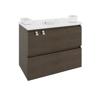 Mueble con lavabo resina 80cm Roble Chocolate B-Box BATH+