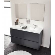Mueble con lavabo resina 2 senos 120cm Roble chocolate B-Box BATH+