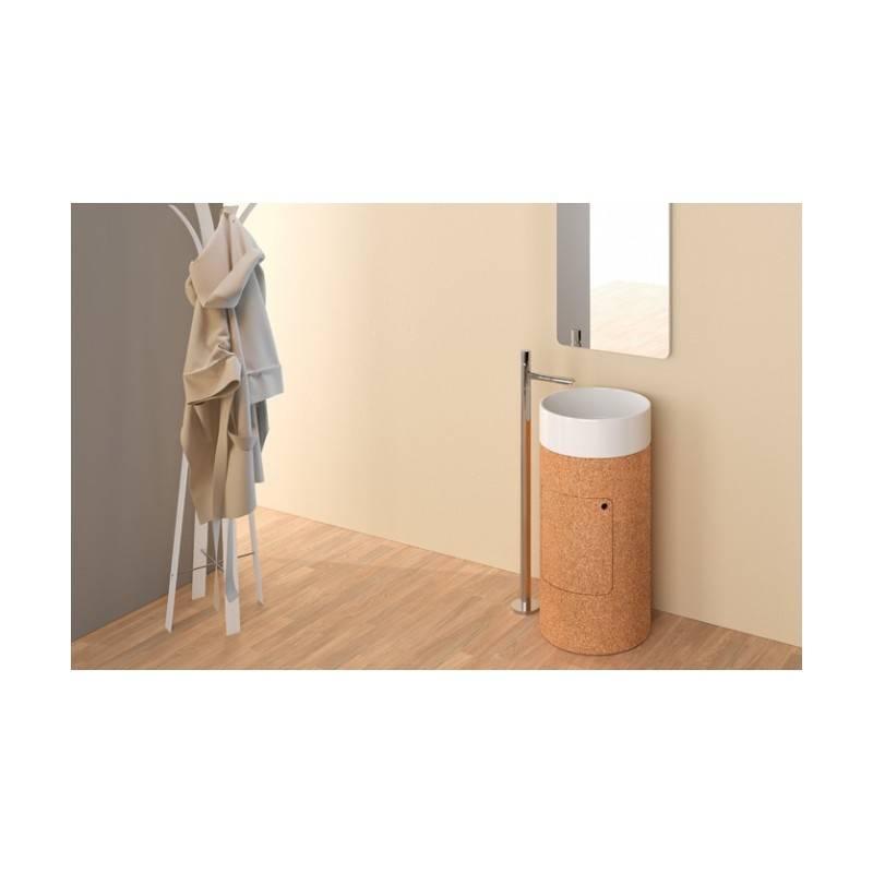 Lavabo round 45 con mueble pedestal materiales de f brica for Mueble lavabo pedestal