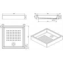 Plato de ducha MOSAICO 90x90x16