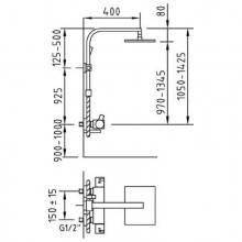 Columna termostático Bimini de ducha extensible