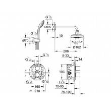 Set de ducha termostático 4 chorros Grohe Grohtherm 3000 Cosmopolitan