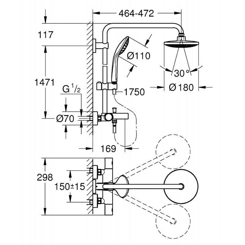 columna termost tica para ba o y ducha grohe euphoria. Black Bedroom Furniture Sets. Home Design Ideas