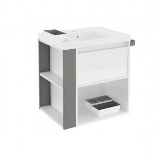 Mueble con lavabo resina 60cm Blanco/Gris B-Smart BATH+