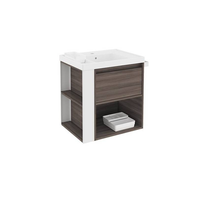 Mueble con lavabo resina 60cm Fresno/Blanco B-Smart BATH+