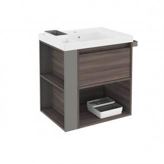 Mueble con lavabo resina 60cm Fresno/Gris B-Smart BATH+