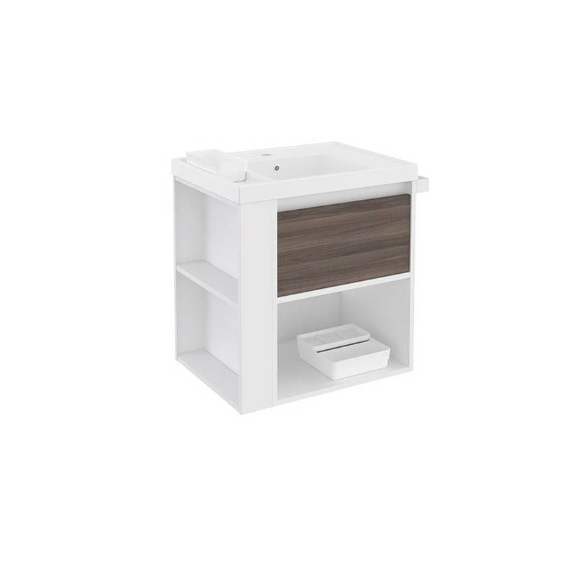 Mueble con lavabo resina 60cm Blanco-Fresno/Blanco B-Smart BATH+