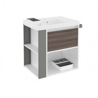 Mueble con lavabo resina 60cm Blanco-Fresno/Gris B-Smart BATH+