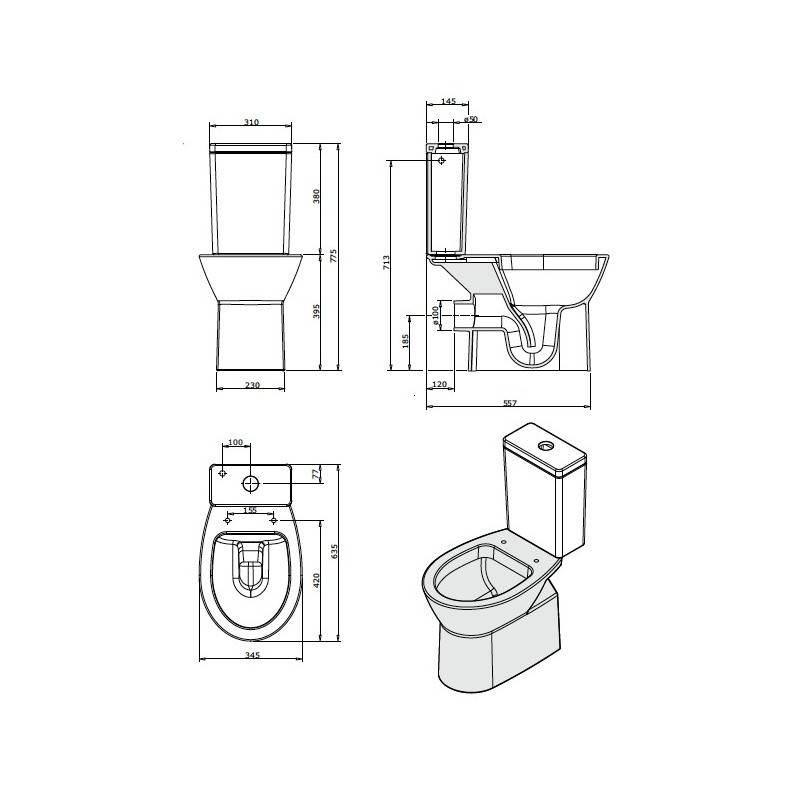 Inodoro cisterna baja easy materiales de f brica for Inodoros completos baratos