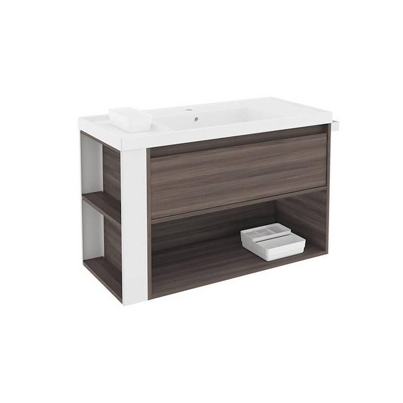 Mueble con lavabo resina 100cm Fresno/Blanco B-Smart BATH+