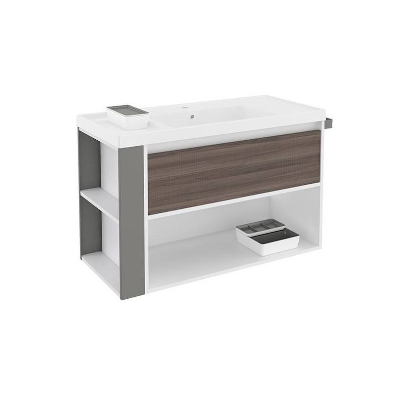 Mueble con lavabo resina 100cm Blanco-Fresno/Gris B-Smart BATH+