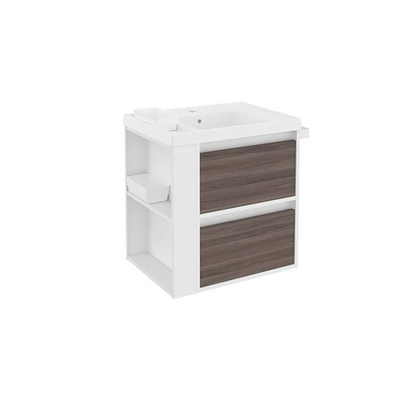 Mueble con lavabo resina 60cm Blanco-Fresno/Blanco 2 cajones B-Smart BATH+