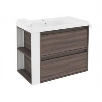 Mueble con lavabo resina 80cm Fresno/Blanco 2 cajones B-Smart BATH+