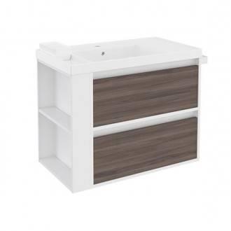 Mueble con lavabo resina 80cm Blanco-Fresno/Blanco 2 cajones B-Smart BATH+