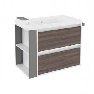 Mueble con lavabo resina 80cm Blanco-Fresno/Gris 2 cajones B-Smart BATH+
