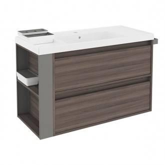 Mueble con lavabo resina 100cm Fresno/Gris 2 cajones B-Smart BATH+