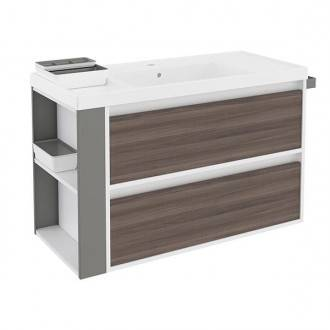 Mueble con lavabo resina 100cm Blanco-Fresno/Gris 2 cajones B-Smart BATH+