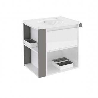 Mueble con lavabo porcelana 60cm Blanco/Gris B-Smart BATH+