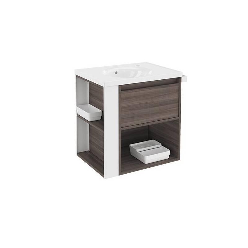 Mueble con lavabo porcelana 60cm Fresno/Blanco B-Smart BATH+