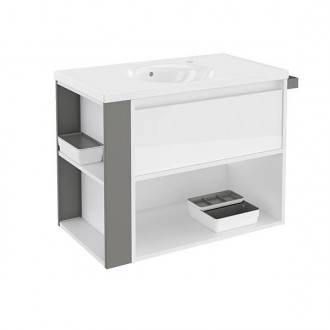 Mueble con lavabo porcelana 80cm Blanco/Gris B-Smart BATH+